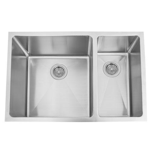 Genaro Stainless Steel 29-Inch Deep 70/30 Offset Double Bowl Undermount Sink