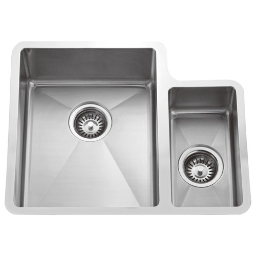 7663a4e8a3 Barclay Products Fennel Stainless Steel 24-Inch 70/30 Offset Double Bowl  Undermount Sink