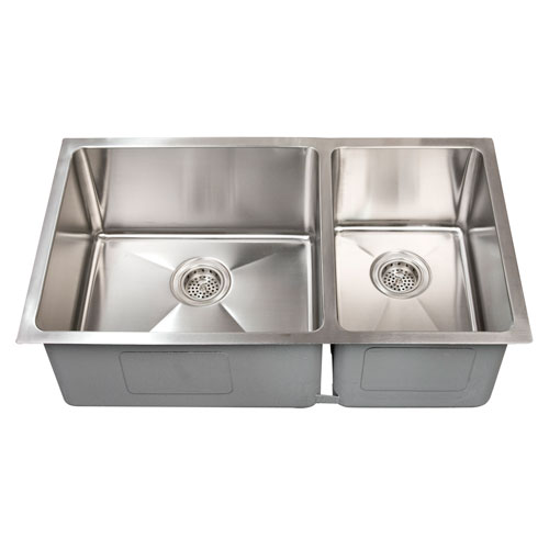 Barclay Products Guilio Stainless Steel 33 Inch 60/40 Offset Double Bowl Undermount  Sink