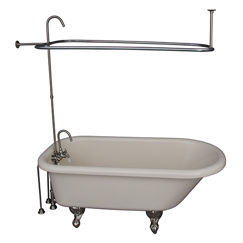 Barclay Products Brushed Nickel Tub Kit 60-Inch Acrylic Roll Top, Shower Unit, Supplies, and Drain