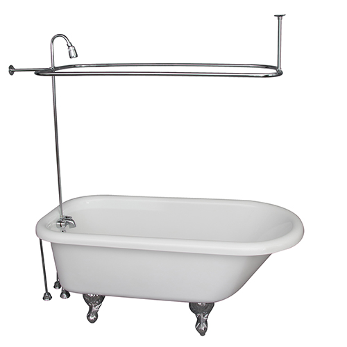 Barclay Products Polished Chrome Tub Kit 60-Inch Acrylic Roll Top, Shower Unit, Supplies, and Drain