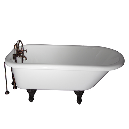 Barclay Products Oil Rubbed Bronze Tub Kit 60-Inch Acrylic Roll Top, Tub Filler, Supplies, and Drain