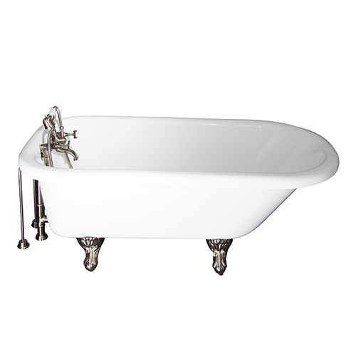 Barclay Products Brushed Nickel Tub Kit 67-Inch Acrylic Roll Top, Tub Filler, Supplies, and Drain