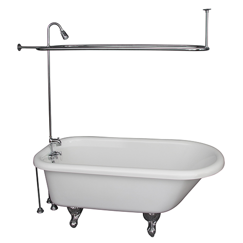 Barclay Products Polished Chrome Tub Kit 67-Inch Acrylic Roll Top, Shower Unit, Supplies, and Drain