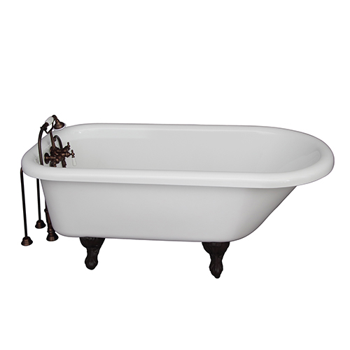 Barclay Products Oil Rubbed Bronze Tub Kit 67-Inch Acrylic Roll Top, Tub Filler, Supplies, and Drain