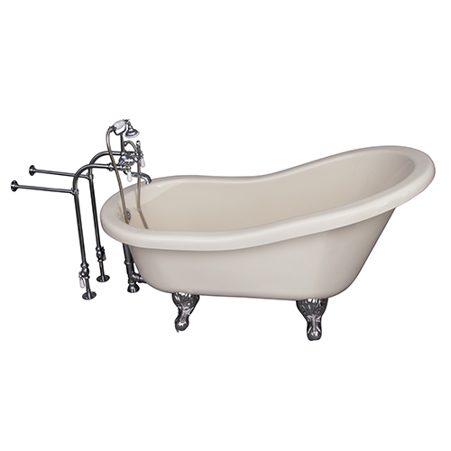Barclay Products Polished Chrome Tub Kit 60-Inch Acrylic Slipper, Tub Filler, Supplies, and Drain