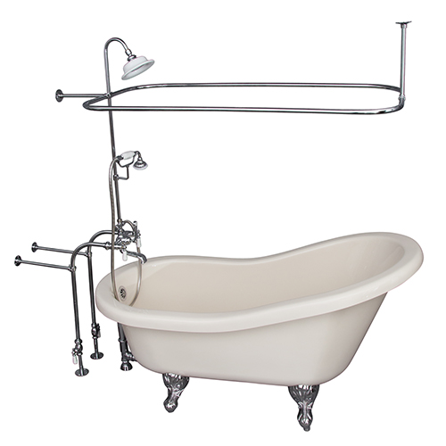 Polished Chrome Tub Kit 60-Inch Acrylic Slipper, Shower Unit, Supplies, and Drain