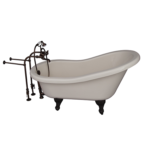 Barclay Products Oil Rubbed Bronze Tub Kit 60-Inch Acrylic Slipper, Tub Filler, Supplies, and Drain