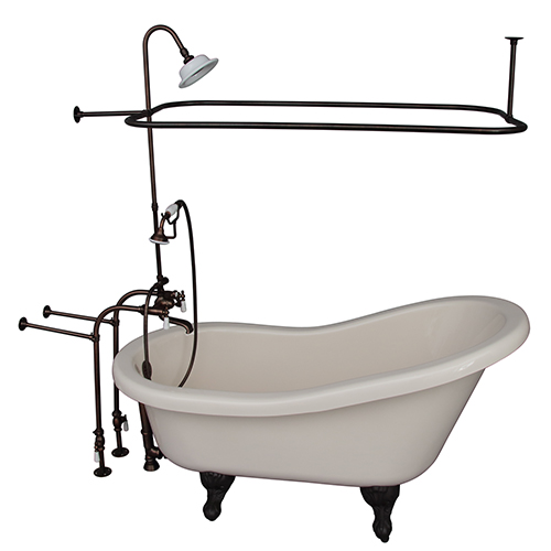 Oil Rubbed Bronze Tub Kit 60-Inch Acrylic Slipper, Shower Unit, Supplies, and Drain