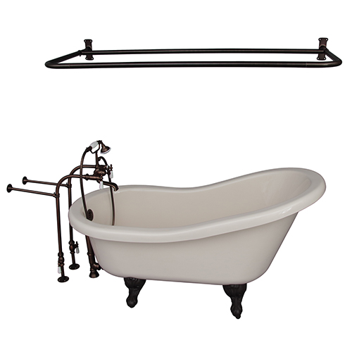 Barclay Products Oil Rubbed Bronze Tub Kit 60-Inch Acrylic Slipper, Shower Rod, Filler, Supplies, and Drain