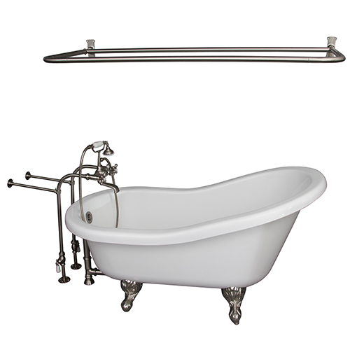 Brushed Nickel Tub Kit 67-Inch Acrylic Slipper, FillerShw Rd, Supplies, and Drain