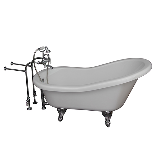 Polished Chrome Tub Kit 67-Inch Acrylic Slipper, Tub Filler, Supplies, and Drain