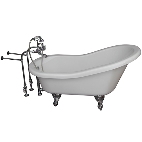Polished Chrome Tub Kit 67-Inch Acrylic Slipper, Tub Filler, Supplies, and Drain