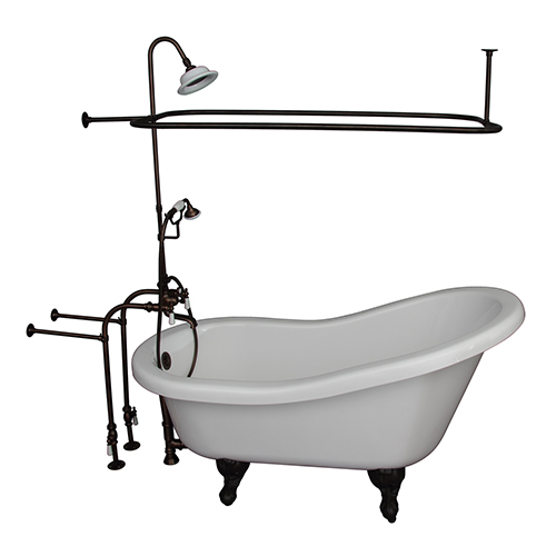 Oil Rubbed Bronze Tub Kit 67-Inch Acrylic Slipper, Shower Unit, Supplies, and Drain