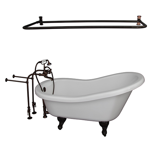Barclay Products Oil Rubbed Bronze Tub Kit 67-Inch Acrylic Slipper, Filler, Shwr Rod, Supplies, and Drain