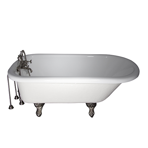 Barclay Products Brushed Nickel Tub Kit 60-Inch Acrylic Roll Top, Tub Filler, Supplies, and Drain