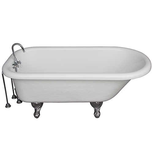 Barclay Products Polished Chrome Tub Kit 60-Inch Acrylic Roll Top, Tub Filler, Supplies, and Drain