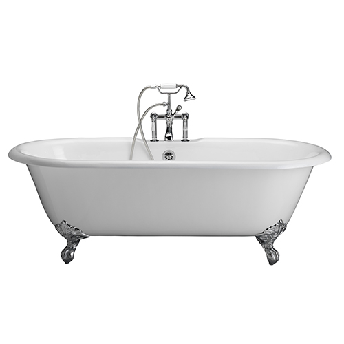 Barclay Products Polished Chrome Tub Kit 61-InchCast Iron, Double Roll Top, Filler, Supplies, and Drain