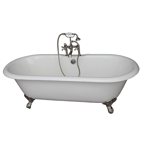 Barclay Products Brushed Nickel Tub Kit 61-InchCast Iron, Double Roll Top, Filler, Supplies, and Drain
