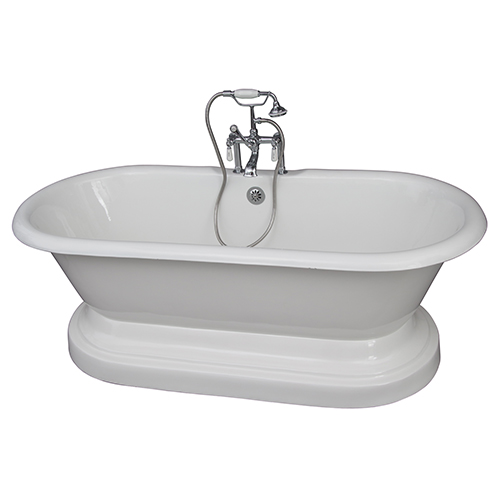 Barclay Products Polished Chrome Tub Kit, 61-Inch Cast Iron, Double Roll Top, Base, Filler, Supplies, and Drain