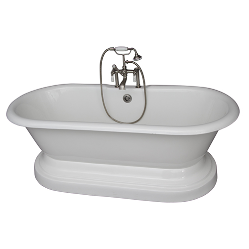 Brushed Nickel Tub Kit 61-InchCast Iron, Double Roll Top with Base, Filler, Supplies, and Drain