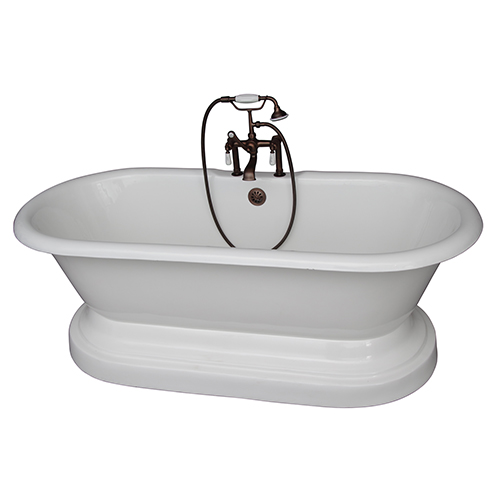 Barclay Products Oil Rubbed Bronze Tub Kit 67-Inch Cast Iron Double Roll Top Base, Filler, Supplies, and Drain