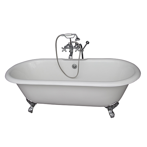 Barclay Products Polished Chrome Tub Kit 67-Inch Cast Iron Double Roll Top, Filler, Supplies, and Drain