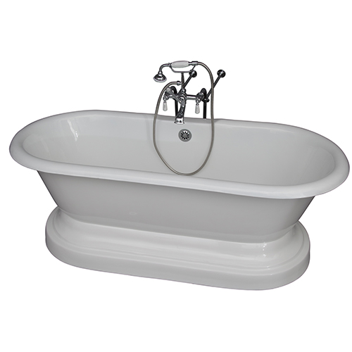 Barclay Products Polished Chrome Tub Kit 61-InchCast Iron, Double Roll Top with Base, Filler, Supplies, and Drain