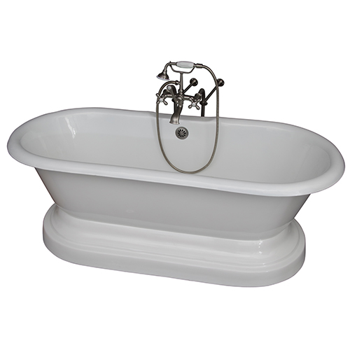 Barclay Products Brushed Nickel Tub Kit 61-InchCast Iron, Double Roll Top with Base, Filler, Supplies, and Drain