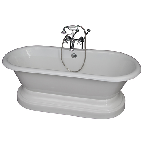 Barclay Products Polished Chrome Tub Kit 67-Inch Cast Iron Double Roll Top Base, Filler, Supplies, and Drain