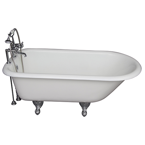 Barclay Products Polished Chrome Tub Kit 60-Inch Cast Iron Roll Top, Tub Filler, Supplies, and Drain