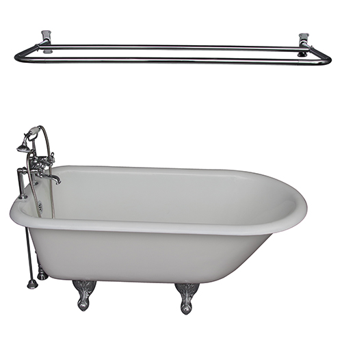 Barclay Products Polished Chrome Tub Kit 60-Inch Cast Iron Roll Top, Shower Unit, Supplies, and Drain