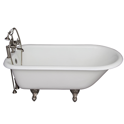 Barclay Products Brushed Nickel Tub Kit 60-Inch Cast Iron Roll Top, Filler, Supplies, and Drain