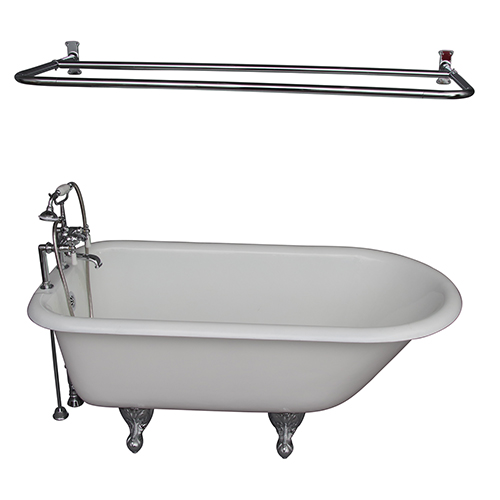 Barclay Products Polished Chrome Tub Kit 67-Inch Cast Iron Roll Top, Shower Rod, Filler, Supplies, and Drain