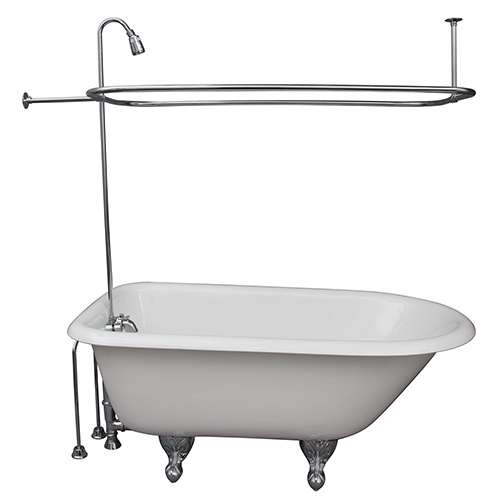 Barclay Products Polished Chrome Tub Kit 54-Inch Cast Iron Roll Top, Shower Unit, Supplies, and Drain