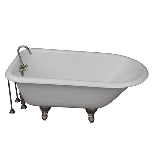 Barclay Products Brushed Nickel Tub Kit 54-Inch Cast Iron Roll Top, Filler, Supplies, and Drain