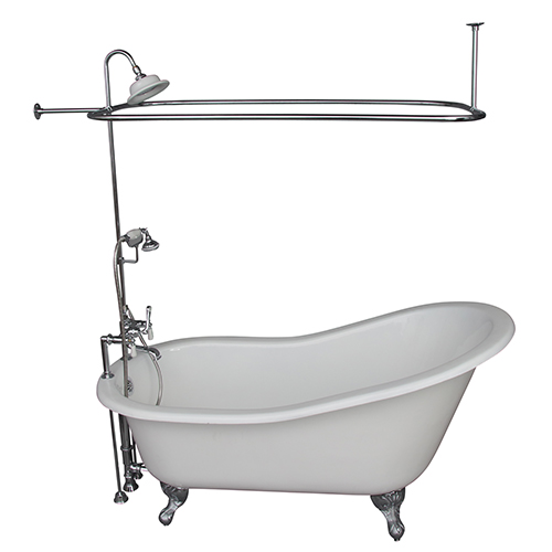 Barclay Products Polished Chrome Tub Kit 67-Inch Cast Iron Slipper, Shower Unit, Supplies, and Drain