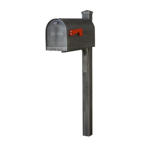 Titan Aluminum Curbside Swedish Silver Mailbox and Wellington Mailbox Post