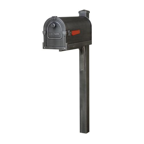 Savannah Curbside Swedish Silver Mailbox and Wellington Direct Burial Mailbox Post Smooth