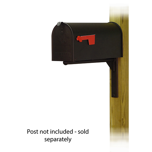Curbside Black Standard Steel Mailbox with Ashley Front Single Mounting Bracket