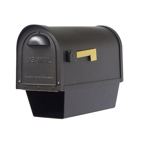 Curbside Black Nine-Inch Classic Mailbox with Newspaper Tube and Baldwin Front Single Mounting Bracket