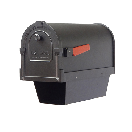 Curbside Black 10-Inch Savannah Mailbox with Newspaper Tube and Baldwin Front Single Mounting Bracket