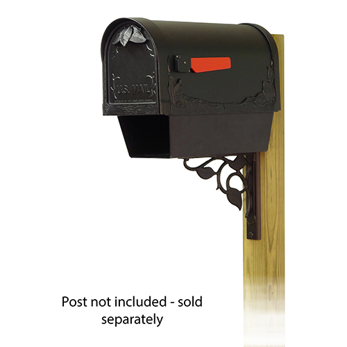 Curbside Black Floral Mailbox with Newspaper Tube and Floral Front Single Mounting Bracket