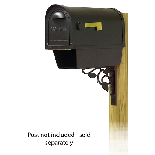 Curbside Black Classic Mailbox with Newspaper Tube and Floral Front Single Mounting Bracket