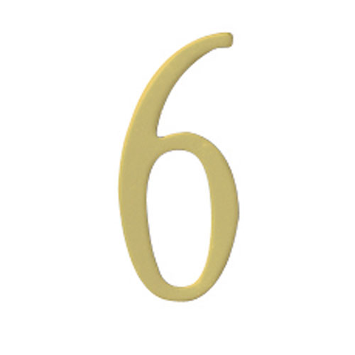 Brass 2-Inch House Number Six