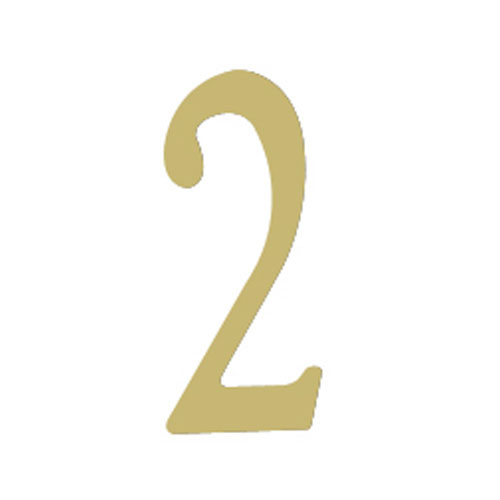 Special Lite Products Company Brass 3-Inch House Number Two