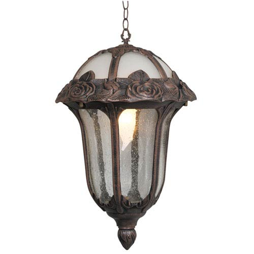 Rose Garden Small Chain Pendant Light with Clear Seedy Glass