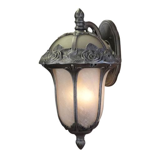 Rose Garden Swedish Silver Large Top Mount Light with Alabaster Glass