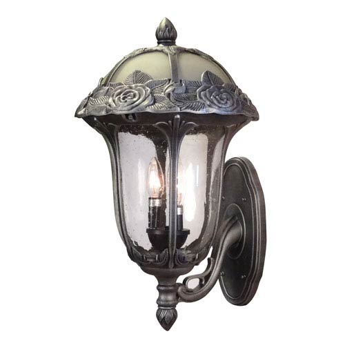 Rose Garden Swedish Silver Large Bottom Mount Light with Seedy Glass