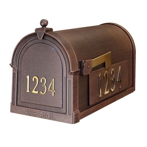 Personalized Berkshire Mailbox in Copper with Stainless Steel Side Numbers and Ashland Post